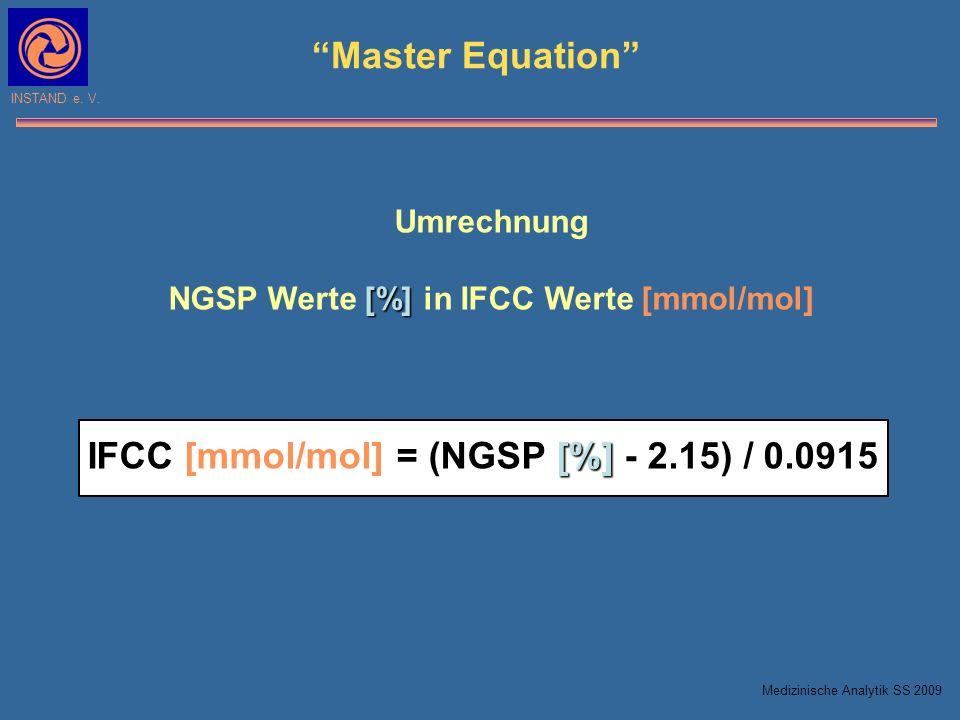 NGSP Werte [%] in IFCC Werte [mmol/mol]
